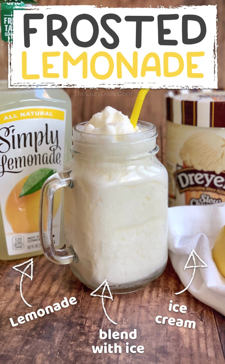 Quick and Easy Summer Slushie Recipe: Just 3 ingredients! Frosted Lemonade made with ice cream, lemonade and ice. Super quick and easy blender slushy even kids can make. #thelazydish #frostedlemonade #slushie #smoothie