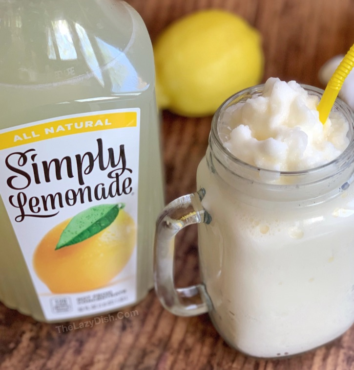Super Easy Frosted Lemonade: Just 3 simple ingredients! The best summer slushy recipe.