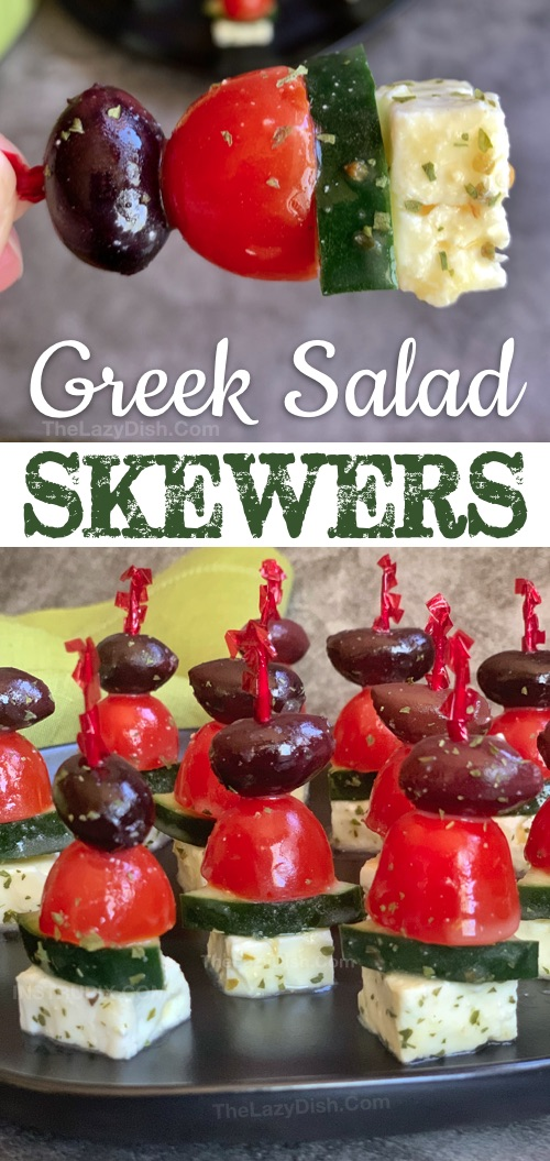 Greek Salad Skewers - A quick and easy make ahead cold party appetizer that is always a crowd pleaser! This easy finger food recipe is healthy, low carb, keto, gluten free and vegetarian! Great for even the pickiest of eaters. It's perfect for summer, potlucks or anytime of the year. #thelazydish #appetizers #partyfood #lowcarb