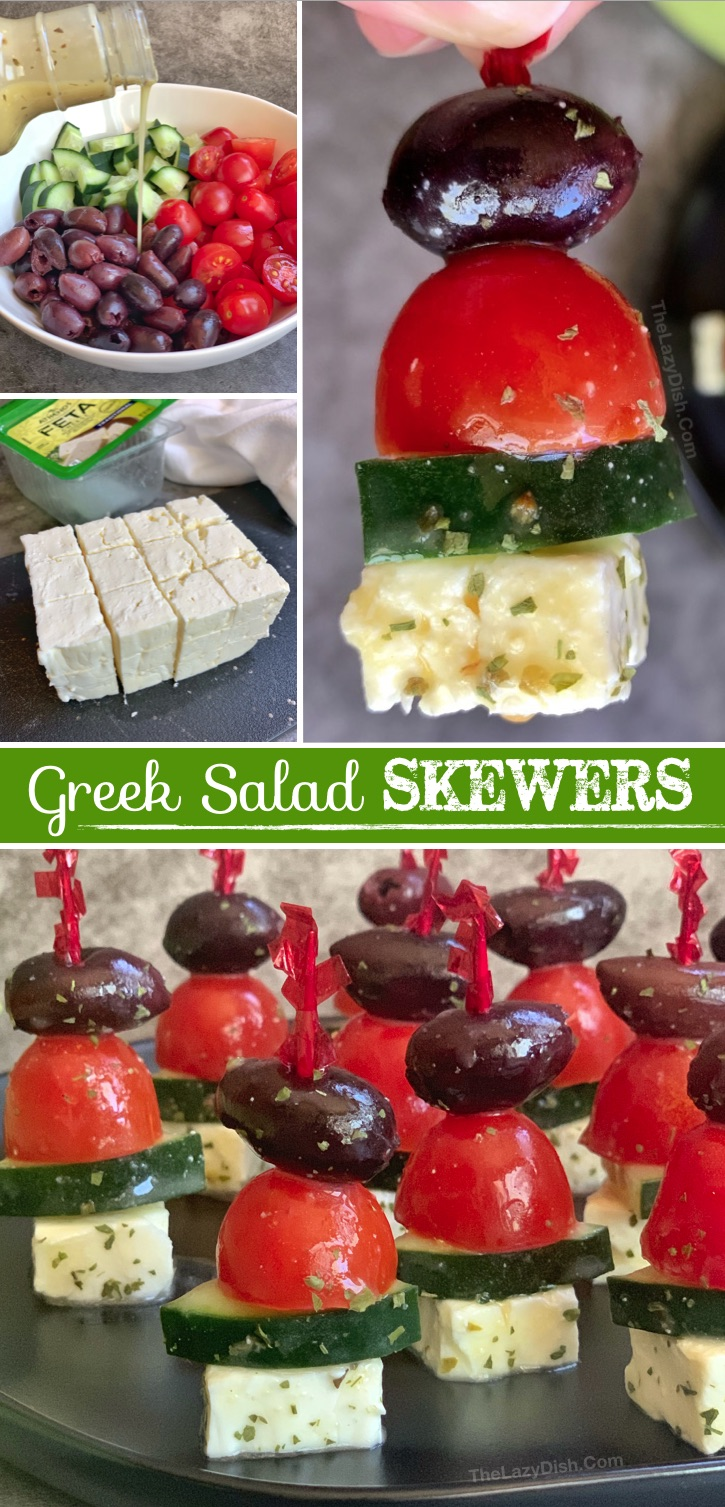 Looking for easy appetizer recipes for a party? These greek salad skewers are made with simple and healthy ingredients! They are the best make ahead snack idea for any get-together. Great for potlucks, baby showers, birthday parties, pool parties, picnics and more! Hassle-free cold finger food everyone will love. #thelazydish #appetizers #fingerfood #greeksalad