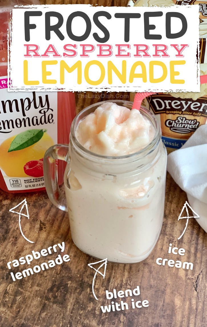 Easy Slushie Recipe: Just 2 ingredients! Frosted Raspberry Lemonade made with ice cream, lemonade and ice. Super quick and easy blender slushy even kids can make. #thelazydish #frostedlemonade #slushie #smoothie