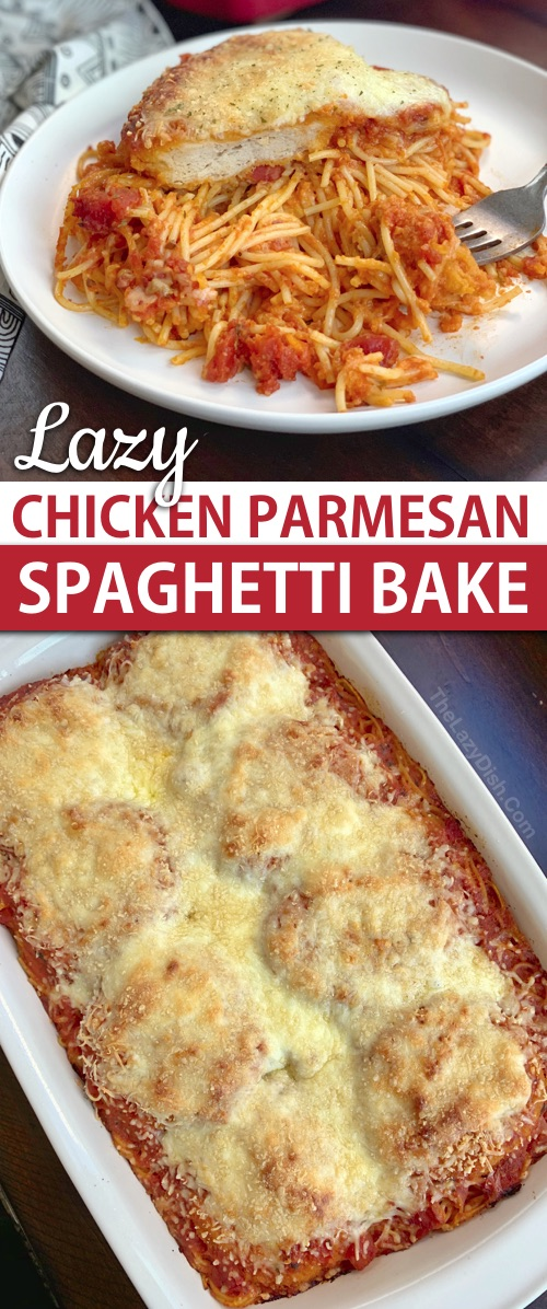 Lazy Chicken Parmesan Baked Spaghetti (a quick and easy dinner idea for the family!) This budget friendly meal is so simple to throw together, it's prefect for busy week nights. Made with just 5 ingredients. #thelazydish #easydinner #chickenparmesan