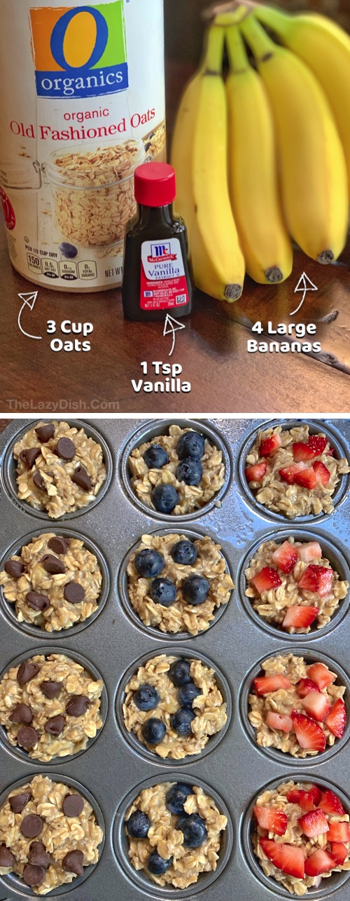 Looking for easy healthy snacks for kids? These on the go 3 ingredient muffins are perfect for toddlers, kids AND adults! Even picky eaters will love these fast little treats. These healthy banana oatmeal muffins are great for school lunch, after school snacks or breakfast. Simple and yummy! No sugar, no flour and vegan. | The Lazy Dish #thelazydish