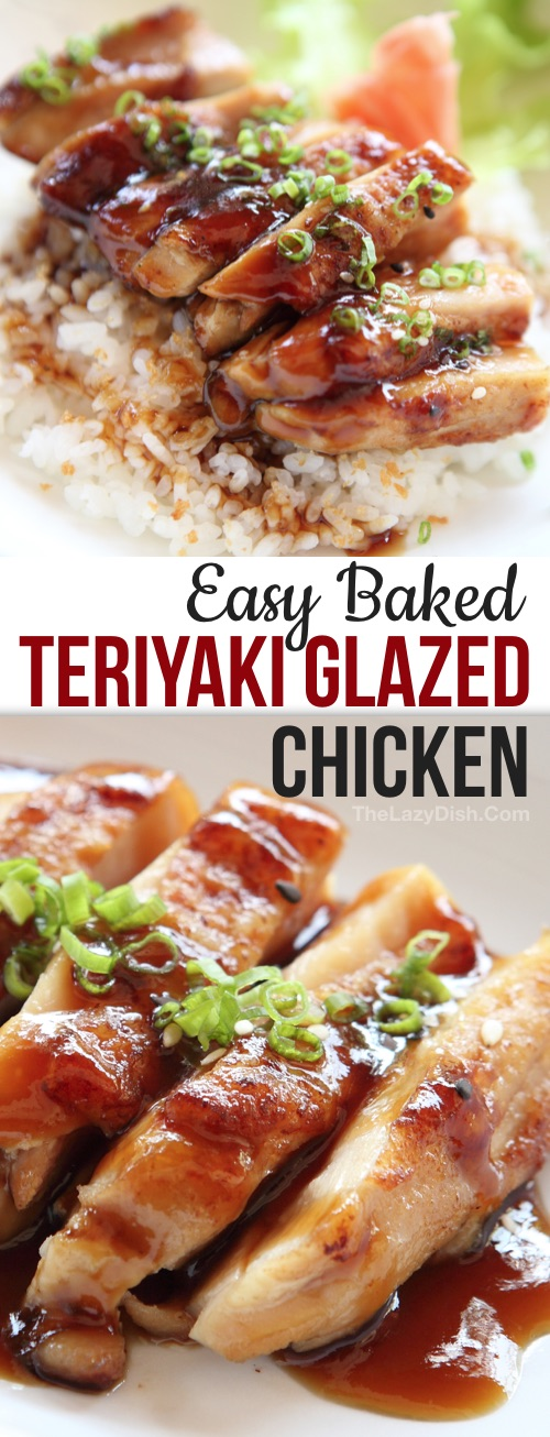 Quick & Easy Chicken Dinner Recipe For The Family: Homemade Baked Teriyaki Chicken -- made with simple ingredients! This easy dinner idea is great for busy weeknight meals, even the kids love it! This teriyaki sauce or marinade can also be used for salmon! I find baked chicken breasts to be the easiest, but you can also use grilled chicken, legs or thighs. #thelazydish #chickendinner