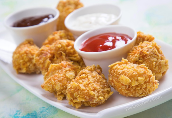 Baked Chicken Bites made with butter and Ritz crackers.
