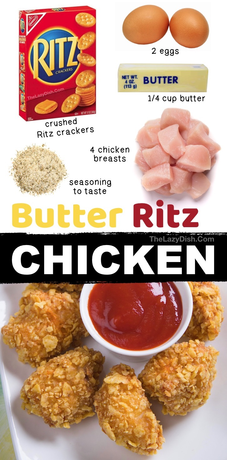 Famous Butter Ritz Chicken Recipe (Nugget Style) -- Looking for easy baked chicken dinner ideas? This quick and easy recipe is a real family pleaser! My picky kids and husband love it. It's made with just 5 simple ingredients: boneless chicken breasts, eggs, butter, Ritz crackers and seasoning to taste. It's a healthier version of a chicken nugget! #thelazydish