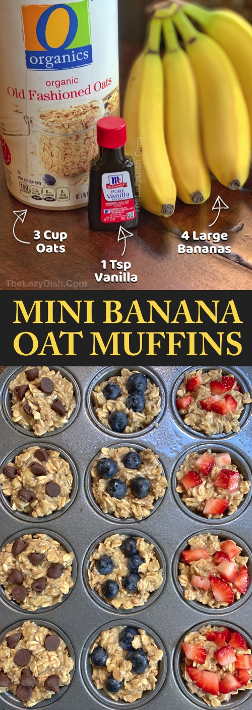 Looking for easy healthy snacks for kids to make? These on the go banana oat muffins are perfect for toddlers, kids AND adults! Just 3 ingredients! Even picky eaters will enjoy these fast little treats. These healthy banana oat muffins are great for school lunch, after school snacks or breakfast. Simple and yummy! No sugar, no flour and vegan. | The Lazy Dish #thelazydish