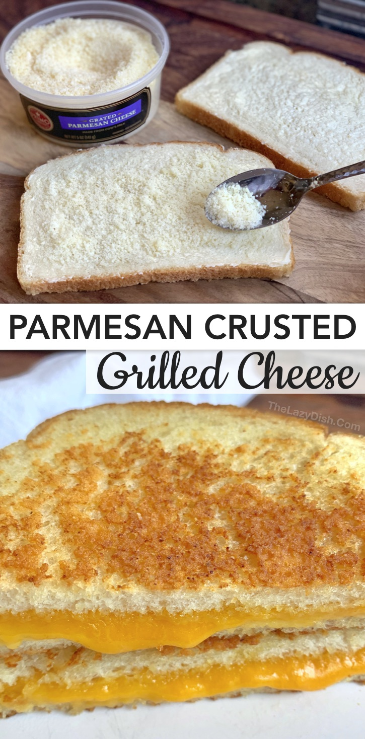 Quick and easy grilled cheese sandwich recipes, ideas and tips on how to make the best grilled cheese. Perfect every time! Everything from vegetarian to meat loaded! Plus how parmesan can turn a classic grilled cheese sandwich from boring to gourmet! Easy Parmesan Crusted Grilled Cheese Recipe. The ultimate comfort food! Perfect for busy weeknight dinners. #thelazydish #grilledcheese