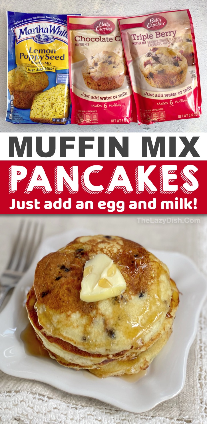 Quick, easy and cheap breakfast idea for busy mornings! Easy Muffin Mix Pancakes. Just 3 ingredients to make this fast, simple and budget friendly breakfast. Kids love all of the fun flavors. #pancakes #3ingredients #muffinmix #thelazydish