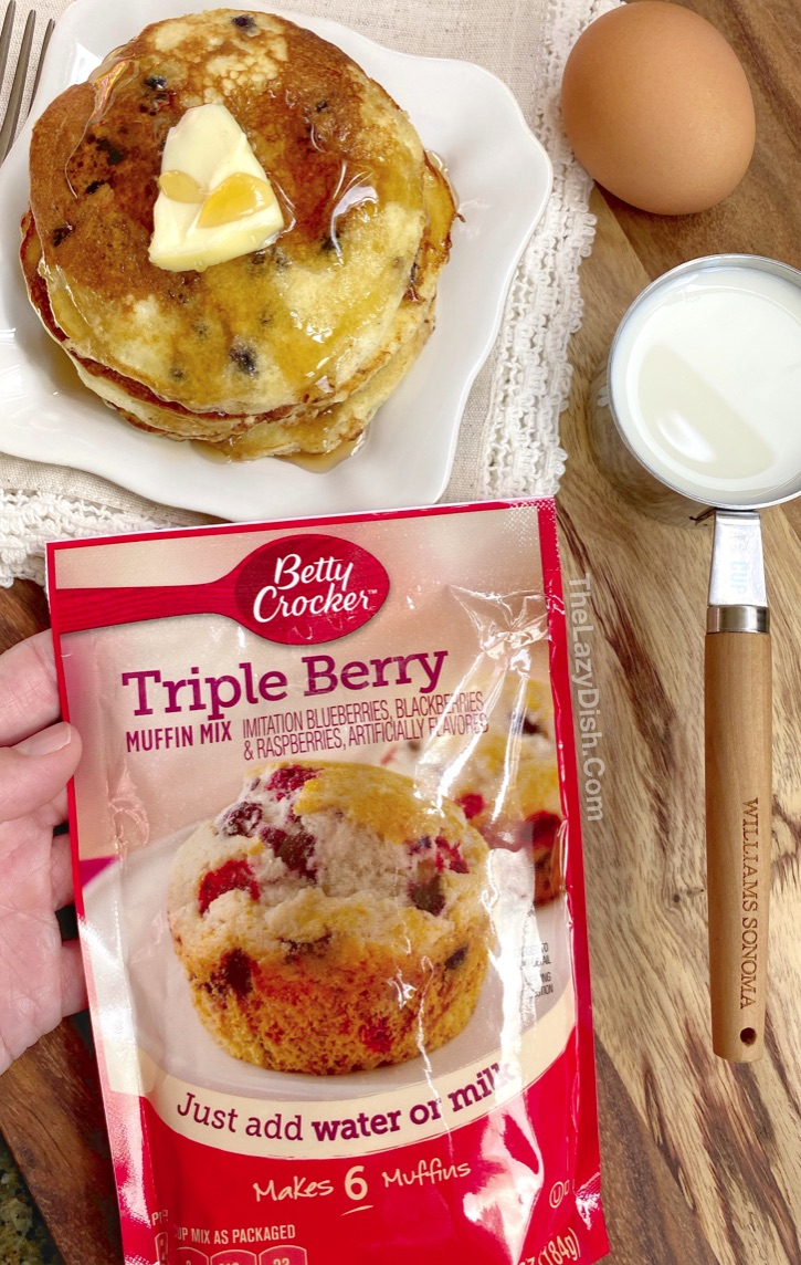 Quick, easy and cheap breakfast idea for busy mornings. Just 3 ingredients! Muffin mix pancakes. Perfect for kids.