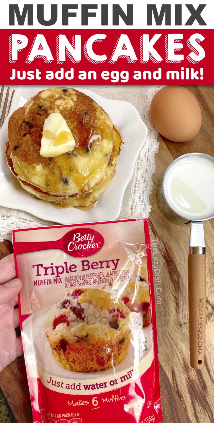 Super quick and easy breakfast idea made with just 3 ingredients! Muffin mix Pancakes. My kids love all of the fun flavors! They are perfect for busy mornings or lazy people like me. #pancakes #bettycrocker #breakfast #3ingredients #thelazydish