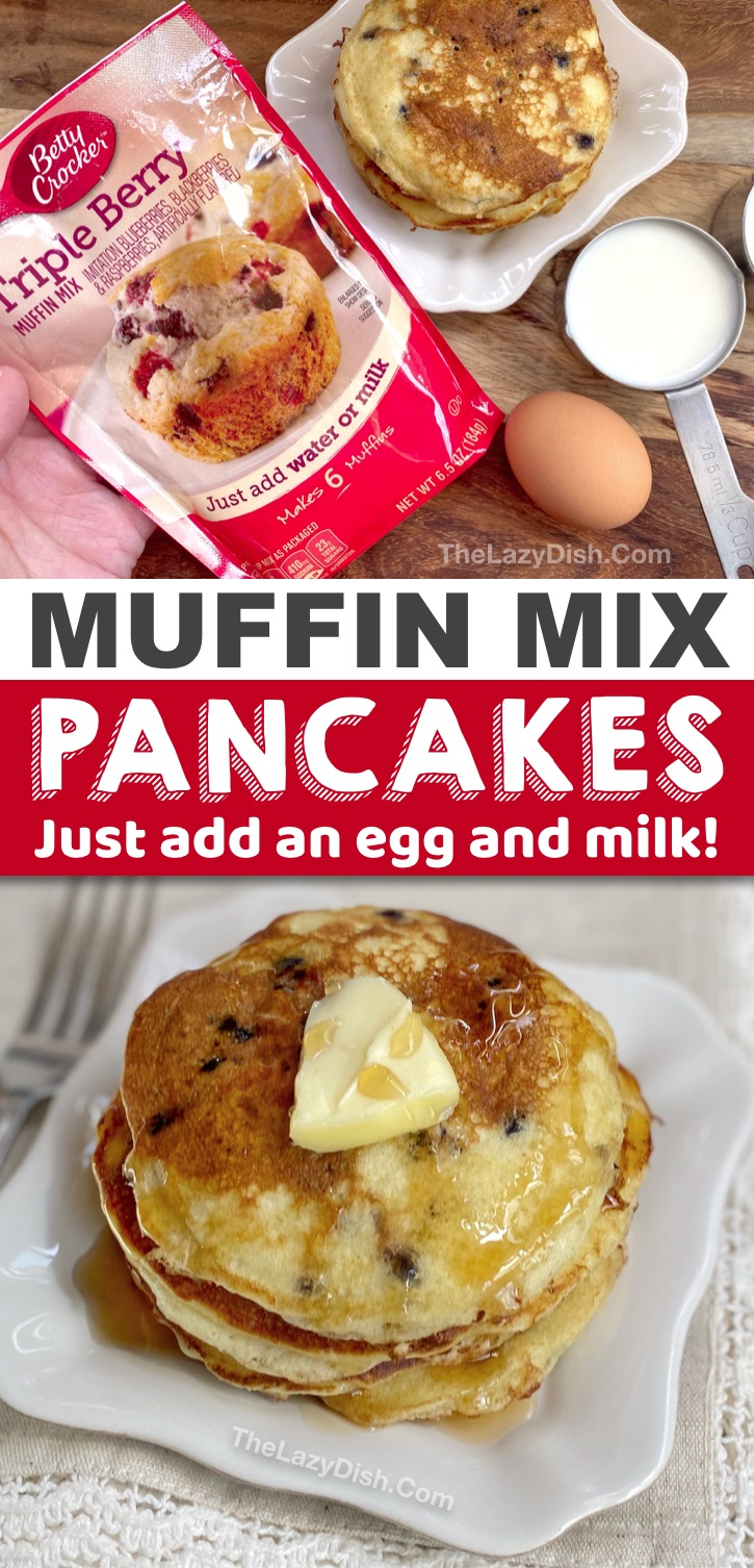 Fast and simple breakfast idea for busy mornings! Check out these quick and easy muffin mix pancakes! Just 3 ingredients and kids love them. #pancakes #breakfast #3ingredients #thelazydish