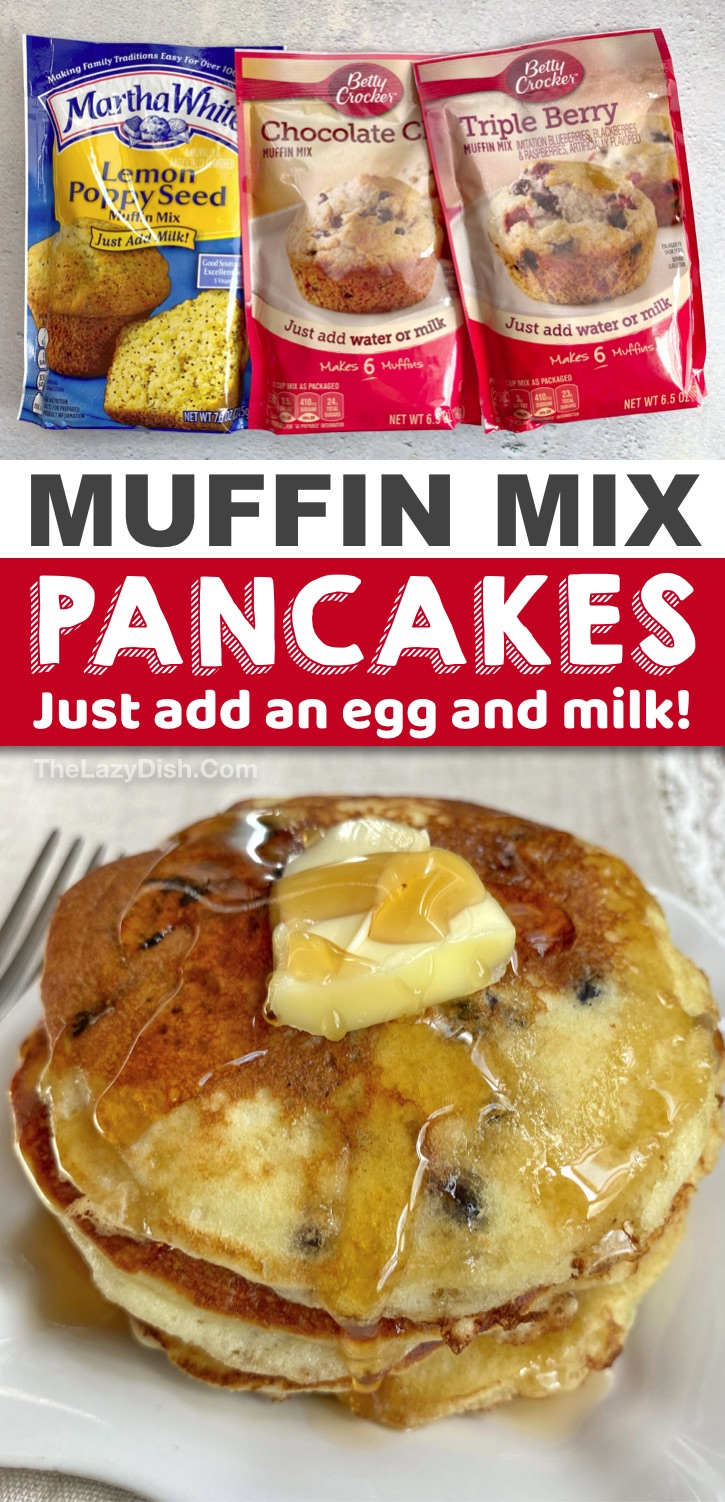 Quick, easy and fun breakfast idea for the kids! These muffin mix pancakes are perfect for busy mornings and your picky eaters will love them! They are so delicious and fun to make with just 3 ingredients: muffin mix, an egg and milk. #pancakes #breakfast #3ingredients #thelazydish
