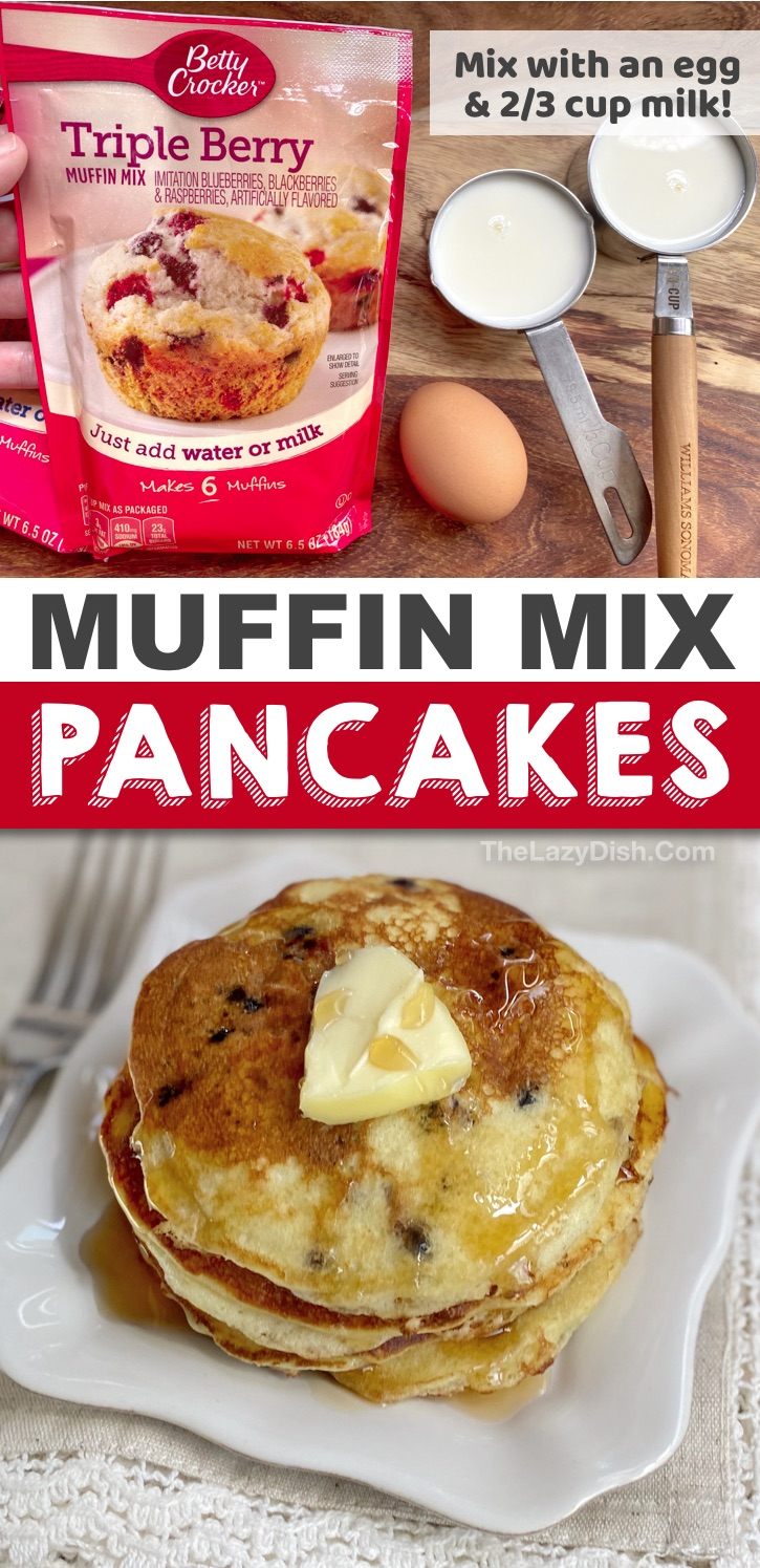 Looking for quick and easy breakfast ideas for the kids? These 3 ingredient muffin mix pancakes are perfect for busy mornings! They are so delicious and fun to make with several different flavors. Just mix with an egg and milk. So simple and cheap to make! #pancakes #breakfast #3ingredients #thelazydish