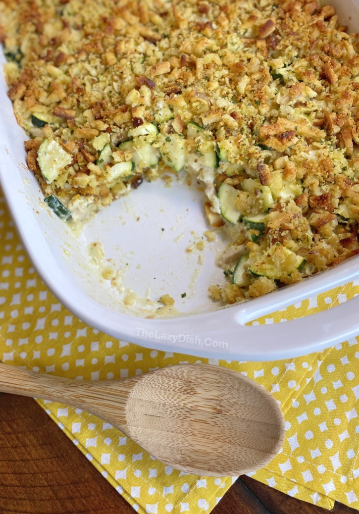 Quick, easy and healthy dinner recipe for the family including your picky eaters: Rotisserie Chicken & Zucchini Casserole