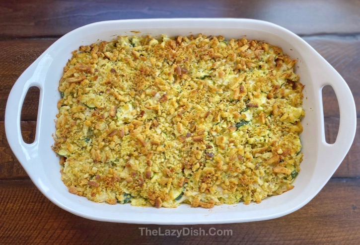 Rotisserie Chicken & Zucchini Casserole made with Stove Top Stuffing Mix