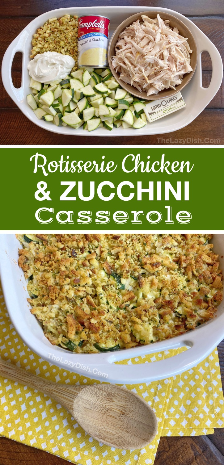 Super easy and healthy dinner recipe for the family (made with cheap ingredients): Rotisserie Chicken & Zucchini Casserole. Great for picky eaters and quick to make on busy weeknights! This main dish will soon be a family favorite meal. It's so good! One of the BEST casserole dinner ideas. It's also budget friendly! #chicken #familymeals #casseroles #maindish