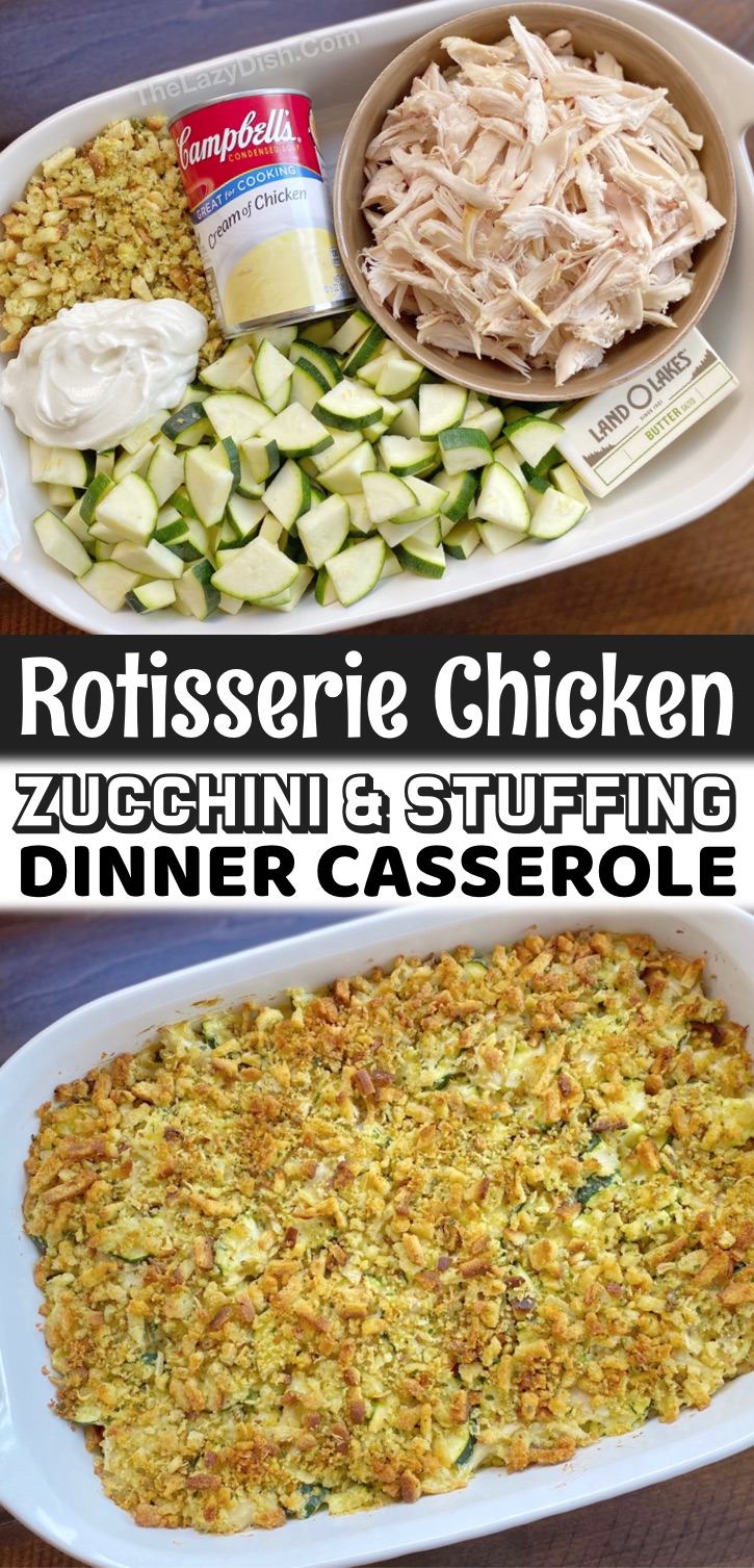 Rotisserie Chicken & Zucchini Casserole (With Stuffing) | I'm always looking for quick and easy dinner recipes for my family, and my kids just devour this simple casserole main dish. It's so simple to make with just a few ingredients, and tastes like pure comfort food once it's all baked. Yes, it's healthy and packed full of protein and fiber! This crazy easy meal is perfect for busy weeknights when your'e too tired to cook. The rotisserie makes it extra fast to make. So yummy!