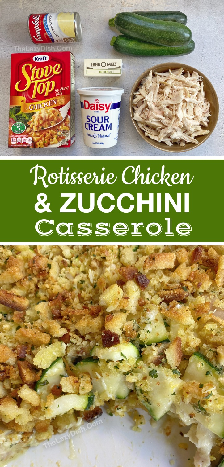 Quick and easy dinner idea for the family (made with few ingredients): Rotisserie Chicken & Veggie Casserole. Your picky eaters are going to love this simple main dish! A breeze to throw together on busy weeknights thanks to rotisserie chicken! It's healthy yet tastes like comfort food. Kid, teen and husband approved. #chicken #easydinner #thelazydish