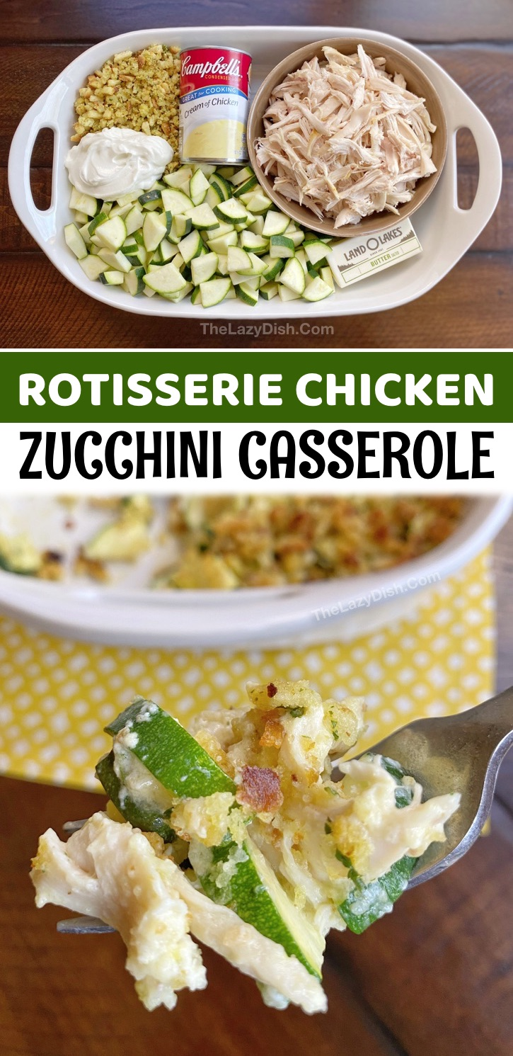 Rotisserie Chicken Zucchini Casserole Dinner Recipe - Who isn't looking for simple meals made with just a handful of ingredients? I don't know about you, but I'm always on the hunt for easy and healthy dinner recipes that my picky eaters won't complain about. This casserole dish recipe is incredibly easy to make with just six ingredients: rotisserie chicken, zucchini, StoveTop Stuffing, butter, sour cream and a can of cream of chicken soup. It's one of the BEST kid friendly dinner ideas, and husband approved, too.