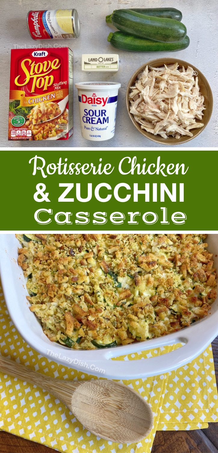 Quick and easy dinner recipe for the family (made with few ingredients): Rotisserie Chicken & Veggie Casserole. Great for picky eaters and a breeze to throw together on busy weeknights! This main dish is a family favorite. It's both healthy and comforting. It's also budget friendly! #chicken #dinnerrecipes #casseroles #thelazydish
