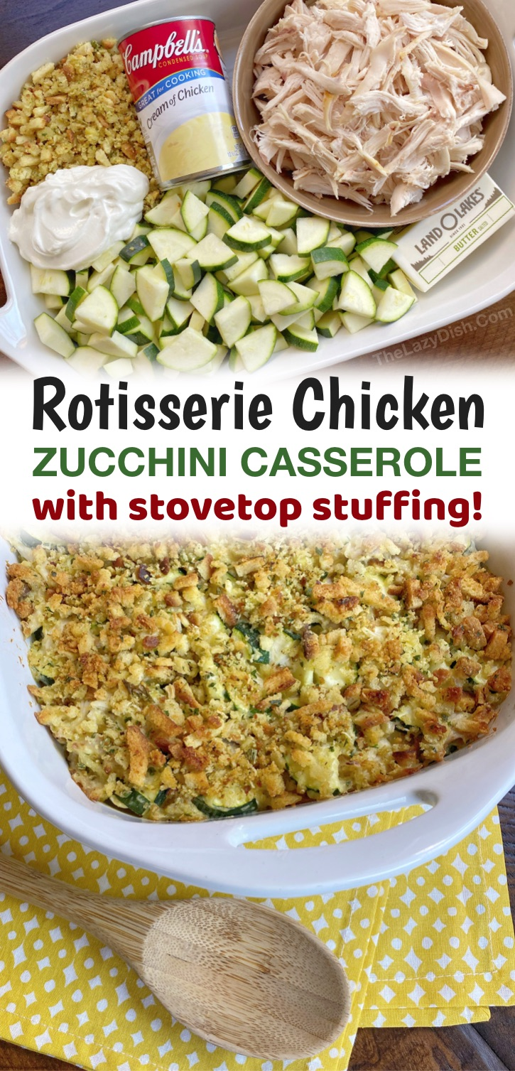 A super quick and easy dinner recipe the entire family will love! This simple meal is made with just a few ingredients that even your picky kids will gobble up! Rotisserie chicken, zucchini, butter, sour cream, cream of chicken soup and store-bought stuffing. It's super yummy but loaded with veggies. If you're looking for kid friendly healthy dinner ideas, this chicken casserole is always a hit-- husband approved, too! It bakes in the oven in less than an hour and makes the house smell so yummy.