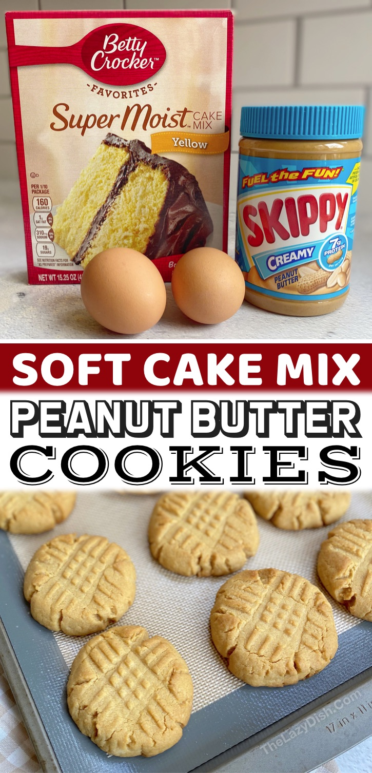 Easy Cake Mix Desserts | These soft and chewy peanut butter cookies are the best! Plus they are so simple to make thanks to a box of Betty Crocker yellow cake mix. Heck, you could even make them with chocolate cake mix! Either way, they are one of my family's favorite last minute desserts. So yummy served warm with a cold glass of milk. My kids love making these cake mix cookies. They only require a few cheap ingredients, and are the best soft textured peanut butter cookies.