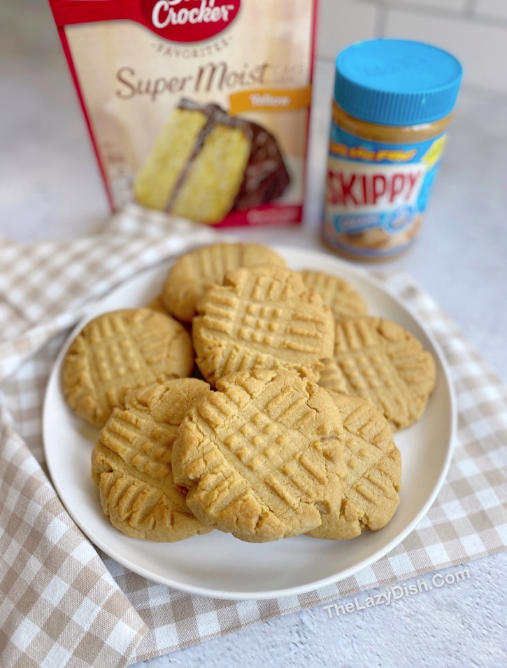 Quick and easy homemade peanut butter cookie recipe made with cake mix! So soft and chewy.