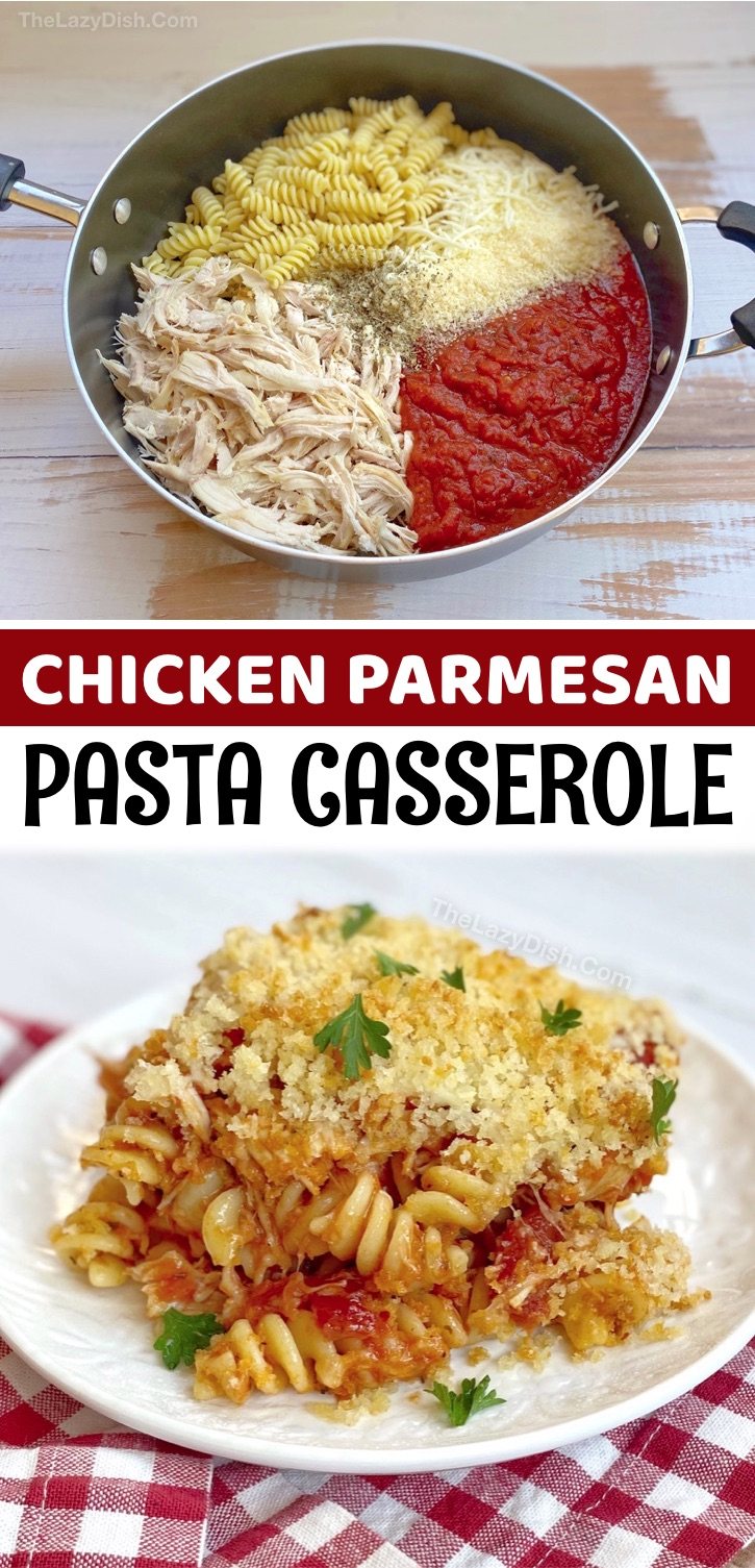 Looking for easy chicken and pasta dinner recipes for the family? This baked chicken parmesan pasta casserole is super quick and cheap to make with just a few ingredients: rotisserie chicken, pasta, marinara, cheese, butter and Panko bread crumbs. Delish! It's the perfect meal for kids, especially your picky eaters. It feeds a large family of 6, but is just as good leftover for lunch or dinner the next day. Serve with a salad or veggies to make it a complete meal. Great for busy weeknights!