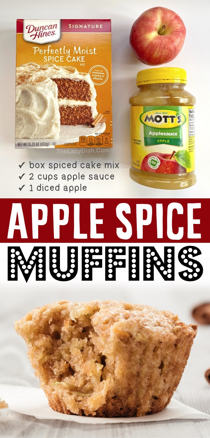 These yummy apple muffins are made with just a few ingredients including boxed spice cake mix, apple sauce and a diced apple (could also add pecans or walnuts for crunch). So quick and easy to make! Don't let that fool you, they are incredibly moist and delicious. The perfect little sweet snack or breakfast idea for fall. My family loves them! Serve with butter or cream cheese. Your kids will enjoy making them with you, in fact they are easy enough for older kids and teens to make themselves.