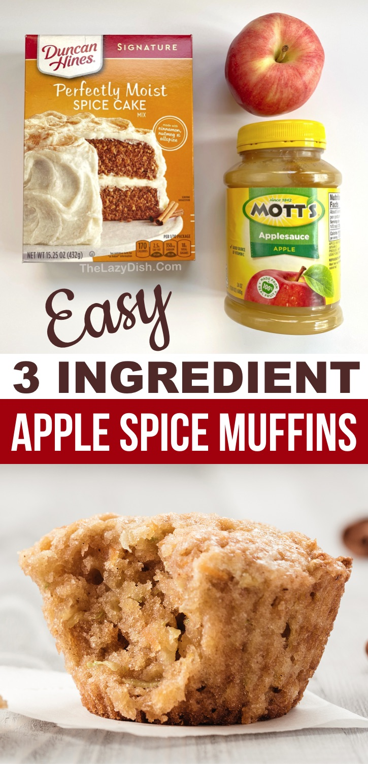 3 Ingredient Easy Apple Spice Muffins -- made with spice cake mix and apple sauce! So quick and simple to make with just a few ingredients. These apple muffins are perfect for breakfast, snacks or even your kids lunchbox. Delicious with cream cheese! A super lazy recipe that your entire family will love. #3ingredients #cakemix #muffins #thelazydish