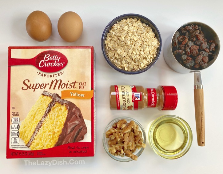 Cake Mix Oatmeal Raisin Muffins Ingredients