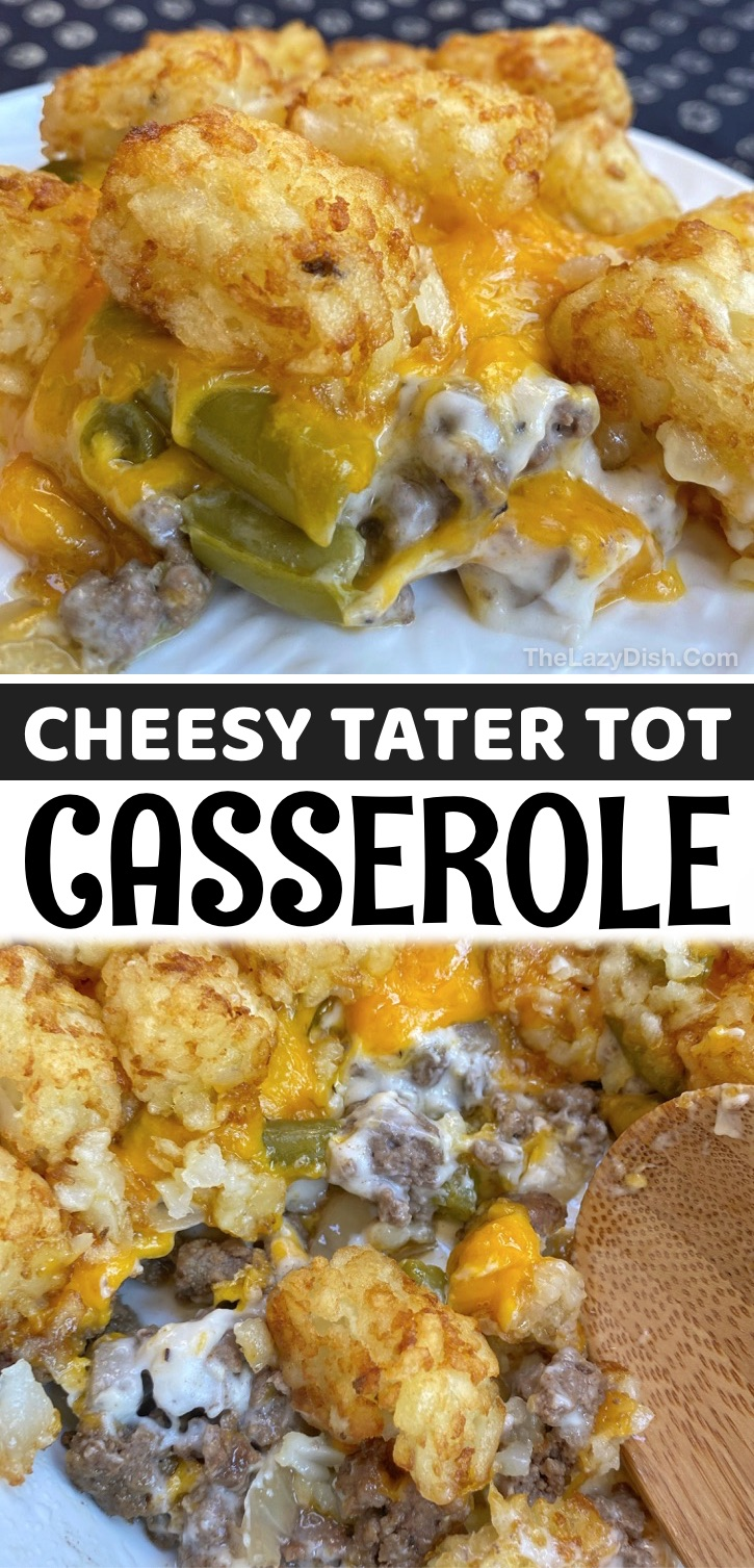 Cheesy Tater Tot Casserole - This easy casserole recipe is made with simple ingredients that your family will love: ground beef, cream of mushroom soup, cheddar cheese, green beans, onion and tater tots. Some serious comfort food! I'm always on the hunt for quick and easy dinner recipes, and my go-to weeknight meal usually comes down to some kind of casserole dish that I know my picky eaters will devour. This tater tot and ground beef casserole has everything you need in a meal, making it one of our favorite main dishes.