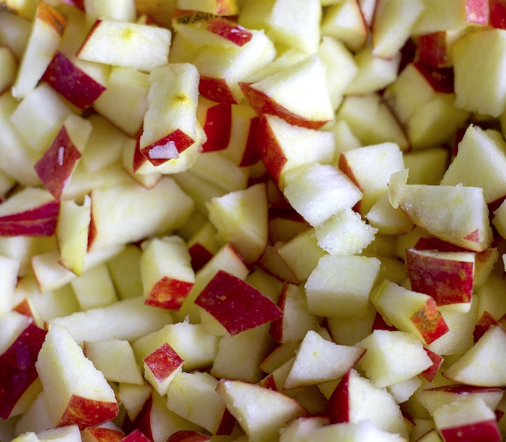 Diced apples for the best 3 ingredient apple muffins!
