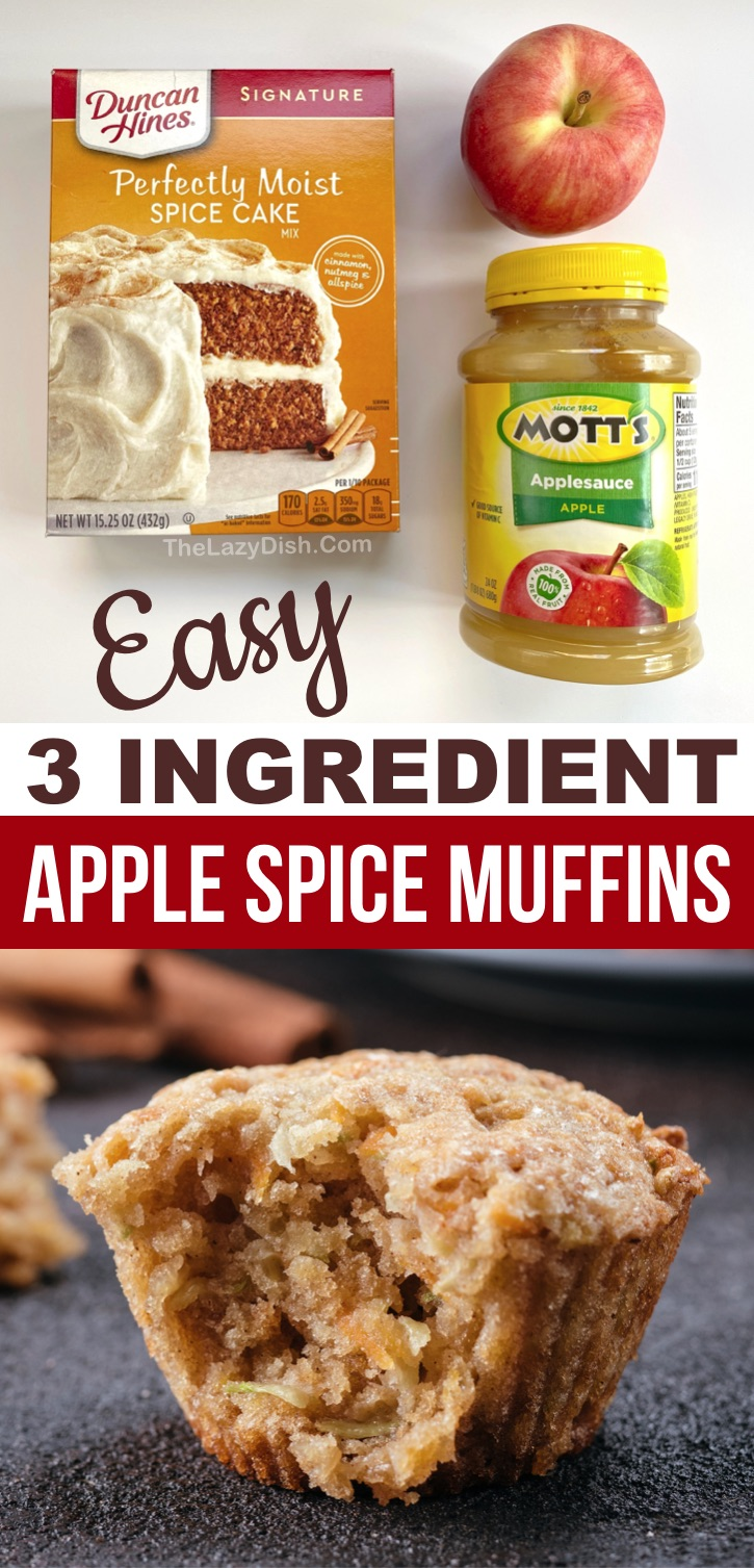 Don't let these quick and easy 3 ingredient apple spice muffins fool you. They are super moist and delicious! Made with just a few ingredients including  boxed spice cake mix, apple sauce and and a diced apple. These eggless muffins are super yummy for breakfast or on the go snacks. Kids love them! A simple fall treat for the family. Spread with cream cheese for the ultimate treat. Great for Thanksgiving or Christmas morning. Easy enough for kids to make! #muffins #3ingredients #thelazydish