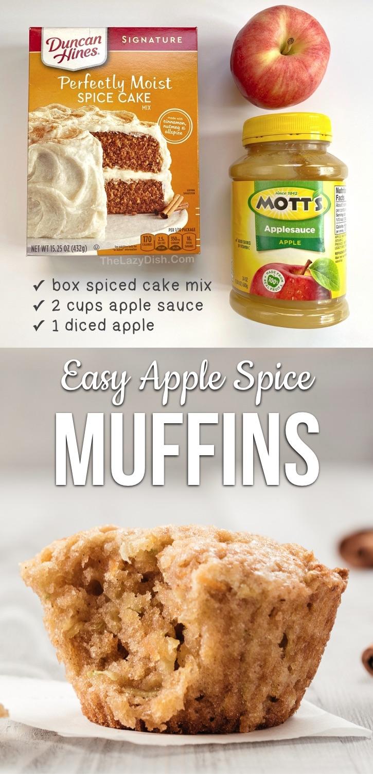 Muffins aux pommes faciles à préparer avec seulement 3 ingrédients!  Si simple et rapide à faire.  Parfait pour les collations d'automne, les friandises et le petit-déjeuner.  Vos enfants les adoreront aussi dans leur boîte à lunch!  Si facile et amusant à fabriquer, même vos enfants plus âgés et vos adolescents peuvent les fabriquer.  Fait avec juste une boîte de mélange à gâteau aux épices Duncan Hines et de compote de pommes!  #muffins # 3ingrédients #apple #snackideas #thelazydish