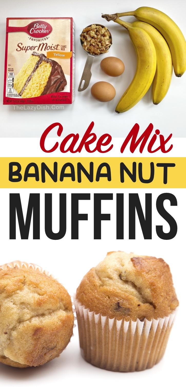 Diese schnellen und einfachen Kuchenmix-Muffins sind immer ein Hit!  So einfach mit nur wenigen billigen Zutaten zuzubereiten: gelbe Kuchenmischung von Betty Crocker, Bananen, Eier und Nüsse.  Sie können sie auch Schokolade mit Schokoladenkuchenmischung machen!  Eine super einfache Snack- und Frühstücksidee für unterwegs.  Kinder mögen diese feuchten und leckeren Muffins auch in ihrer Brotdose für die Schule oder sogar als schnellen Snack nach der Schule.  So lustig und einfach zu machen, sogar die Kinder können sie selbst machen!  #Muffins #Snacks #thelazydish