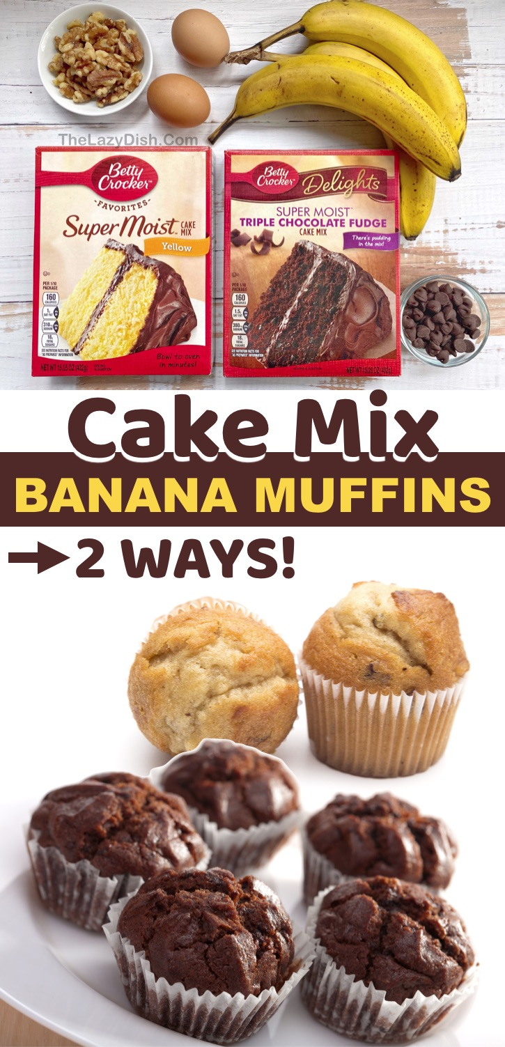 Quick and Easy Cake Mix Muffins made with just 3 ingredients! Betty Crocker cake mix (yellow or chocolate), ripe bananas, eggs and the mix-ins of your choice like chocolate chips or nuts. So simple to make with just a few ingredients. Kids love these muffins as an on the go snack or breakfast idea for busy mornings. #cakemix #muffins #funsnacks #baking # thelazydish