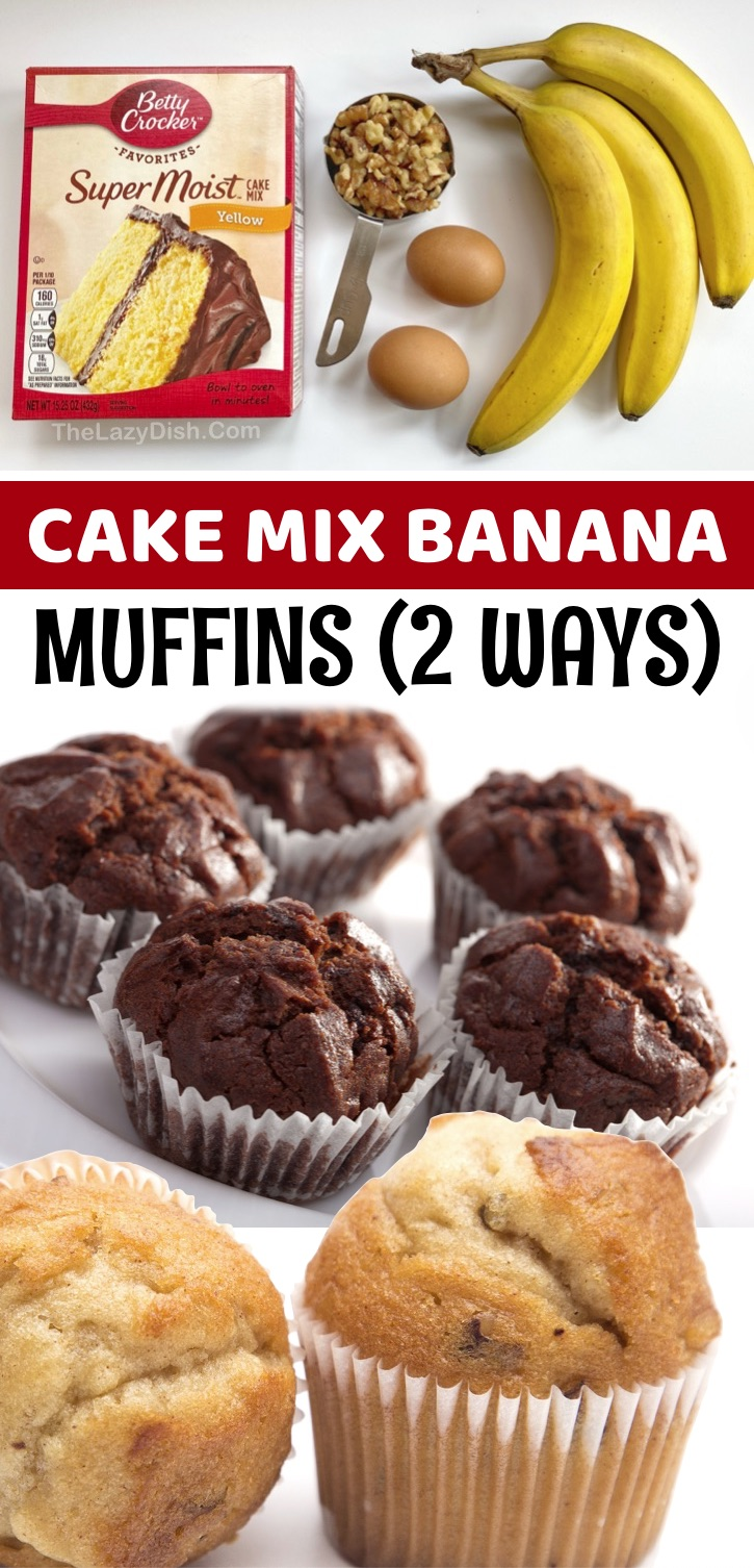I don't know if you've discovered all of the creative treats you can make with a box of Betty Crocker Cake Mix, but these 3 ingredient muffins are incredibly moist and delicious! These moist & yummy muffins are made with just a few bananas, eggs, cake mix and anything else you want to throw in there like chocolate chips or walnuts. You can essentially use any flavor of cake mix that you'd like for a variety of easy muffin recipes, but yellow and chocolate cake mix are a favorite in my house.