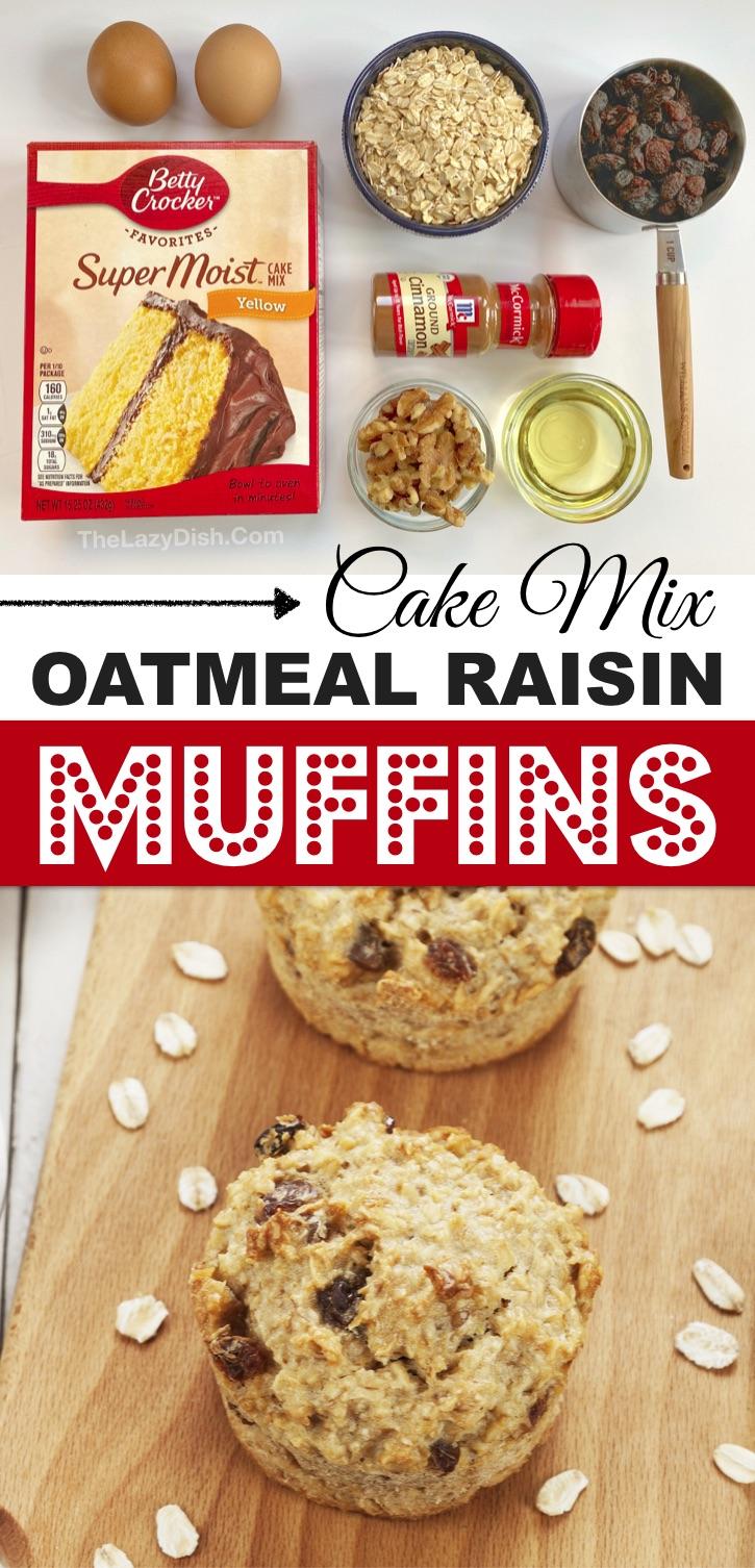 Vous cherchez des idées de collations sur le pouce?  Ces muffins à l'avoine, rapides et faciles, sont parfaits pour les collations sur le pouce, les boîtes à lunch de l'école, les friandises après l'école ou un petit-déjeuner sucré facile pour les matins occupés.  Les enfants et les adultes les adorent!  Fabriqué avec des ingrédients simples et bon marché.  Idées faciles de collations saines pour les enfants.  #snacks #muffins #cakemix #thelazydish