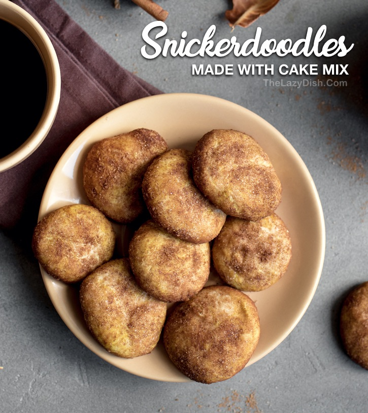 Easy Homemade Snickerdoodle Cookies Recipe made with Betty Crocker yellow cake mix, cinnamon, sugar, eggs and oil. No butter or cream of tartar! So simple and easy to make with just a few ingredients.