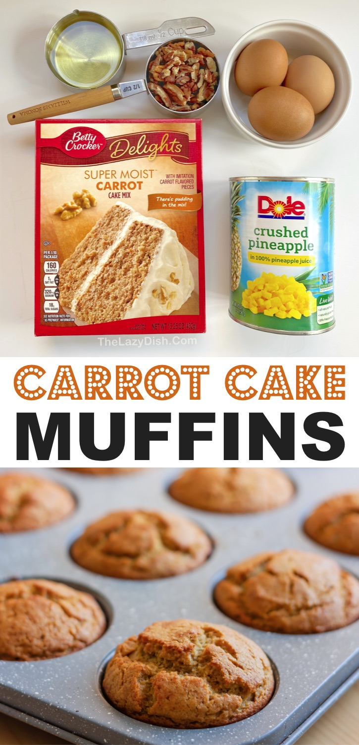 Easy Carrot Cake Muffins Recipe (made with a box of carrot cake mix, pineapple, eggs and oil!) A super simple muffin recipe that's perfect for breakfast, school lunches, after school snacks or even dessert with cream cheese. So yummy! Kids love these quick and easy carrot cake mix muffins. #muffins #carrotcake #snacks #thelazydish