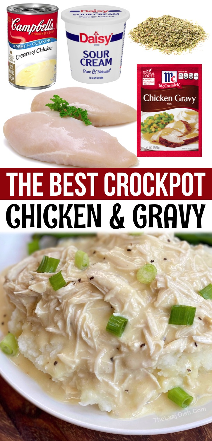 Easy Crockpot Chicken & Gravy - An easy slow cooker dinner recipe for the family! Serve over mashed potatoes, rice or pasta. This simple chicken dinner recipe is perfect for your picky eaters. It's the best weeknight meal for a busy family, and just as good leftover for lunch or dinner the next day. Serve with a side of veggies or salad to make it a complete healthy meal. Your kids are going to gobble it up! If you're looking for easy crockpot dinner recipes, your search ends here with this shredded crockpot chicken and gravy.