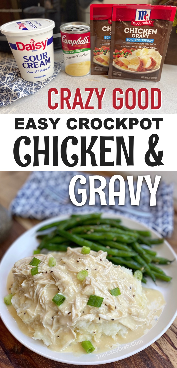 Creamy Slow Cooker Chicken & Gravy -- Looking for family dinner ideas on a budget? This crockpot chicken recipe is so quick and easy to make with simple and cheap ingredients: chicken breasts, cream of chicken soup, sour cream and seasoning. Serve with mashed potatoes, rice or even pasta. It's so good even your kids and picky eaters will LOVE it. This slow cooker dinner recipe is perfect for busy weeknight meals. Serve with a side of veggies to make it healthy. The best crockpot dinner recipe! #familymeals #slowcooker #thelazydish