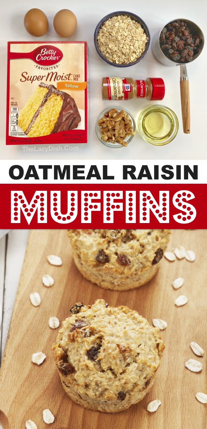 Looking for quick and easy on the go breakfast ideas? These cake mix oatmeal muffins are so simple to make with just a few ingredients including boxed yellow cake mix and oats. Even your picky kids will love these moist and delicius muffins. They are also great for lunchboxes and after school snacks. Serve warm with butter! SO GOOD! An easy breakfast idea for busy moms and dads. Simple enough for your kids to help make. I love baking with cake mixes! #muffins #breakfast #snacks #thelazydish