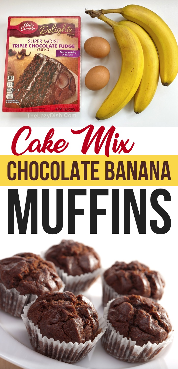 Cake Mix Chocolate Banana Muffins (just 3 ingredients plus the optional chocolate chips!) So quick and easy to make with just a few ingredients. The Best lazy way to make muffins. This easy baking recipe is a hit with kids! Great for a busy morning breakfast or on the go snack before and after sports practice. #cakemix #3ingredients #muffins #chocolate #thelazydish