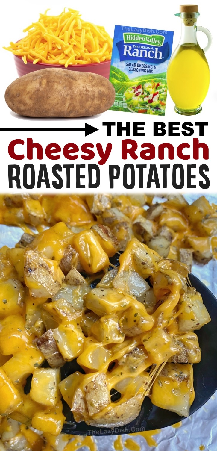 Looking for easy side dishes for dinner? These oven roasted cheesy potatoes are a wonderful cheesy side dish for bbq, chicken, steak, ham, fish, salmon, pork chops or just about any meal! They are a family favorite, kid friendly potato recipe, plus they are quick and easy to make with just a few cheap ingredients: olive oil, shredded cheddar cheese and a packet of ranch seasoning mix. Great for families with picky eaters! My kids and husband love these chopped and oven baked russet potatoes.