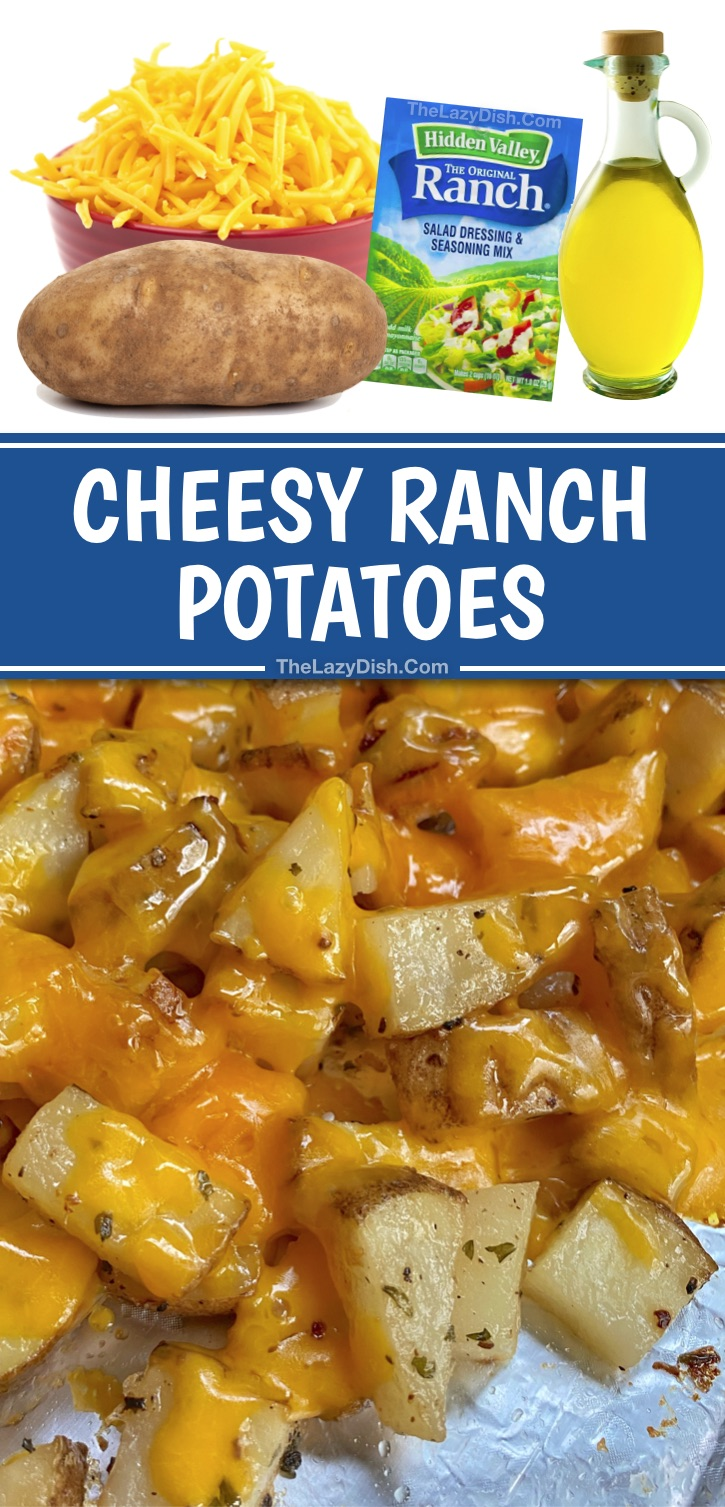 Looking for potato side dishes for dinner? These cheesy ranch potatoes are super quick and easy to make with just a few cheap ingredients: cheddar, olive oil, ranch seasoning and a little garlic powder and pepper to taste. Some serious comfort food! Your entire family including your kids and picky eaters wil love these simple oven baked chopped potatoes. Great with chicken, steak, bbq and more. #potatoes #sidedishes #yummy #thelazydish