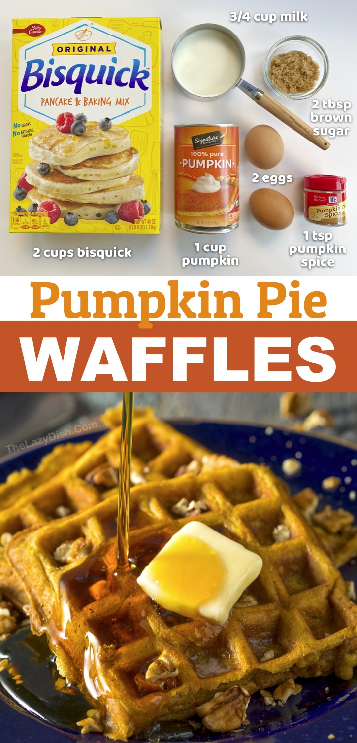 These simple pumpkin pie waffles are made with just a few ingredients including Bisquick, eggs, pumpkin puree, brown sugar and milk! A super quick and easy breakfast idea for fall-- Halloween, Thanksgiving or even Christmas mornings! Fun and easy to make in your waffle iron. Serve with butter, syrup and chopped pecans. Your entire family will love this yummy breakfast idea (including your picky kids). If you're looking for pumpkin recipes, these waffles are always a hit. #pumpkin #waffles