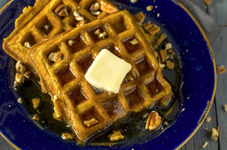 Looking for sweet fall breakfast ideas? Try these Quick and Easy Pumpkin Waffles Made With Bisquick Pancake Mix and Canned Pumpkin